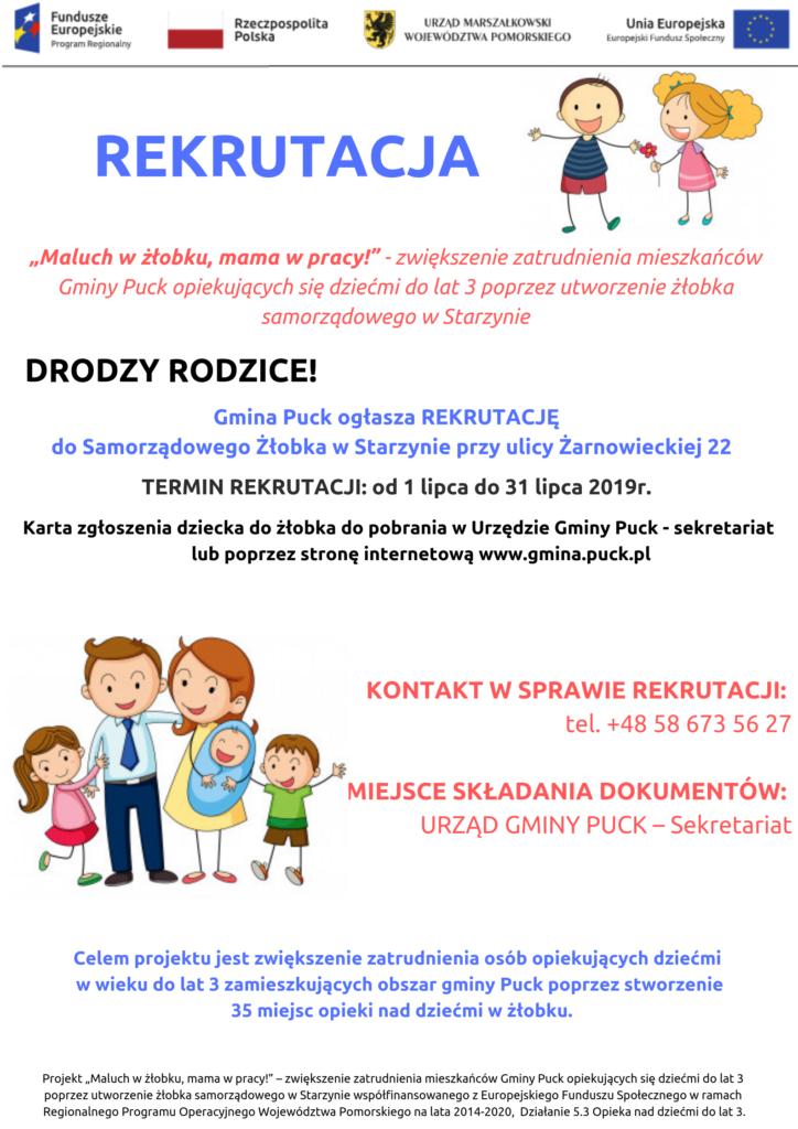 Rekrutacja do Żłobka - plakat
